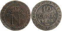 France 10 Centimes Napoléon I - 1809 BB Strasbourg 2 em ex