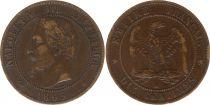 France 10 Centimes Napoleon III Laureate head - 1863 BB Strasbourg