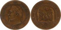 France 10 Centimes Napoleon III Laureate head - 1864 BB Strasbourg