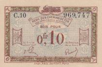 France 10 Centimes Regie des chemins de Fer - 1923 - Serial C.10