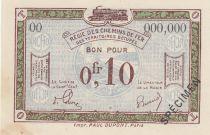 France 10 Centimes Régie des chemins de Fer - 1923 - Spécimen Série OO