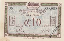 France 10 Centimes Regie des chemins de Fer - 1923 - Specimen Serie OO