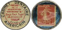 France 10 Centimes Timbre Monnaie - 1920 - American Dental Office Toulon