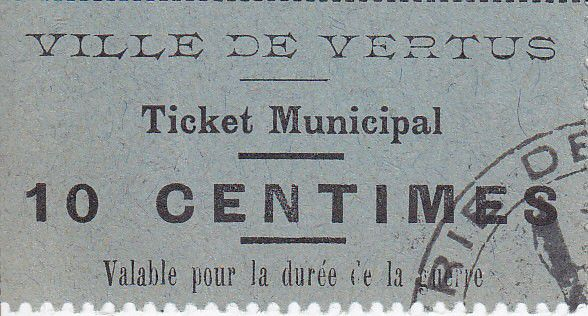 France 10 centimes Vertus Ticket Municipal