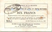 France 10 F , Laval et Mayenne Chambre de Commerce, série 1 Annulé par perf. - 1940
