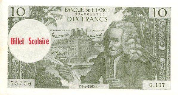 France 10 F Voltaire (vert) - 1963