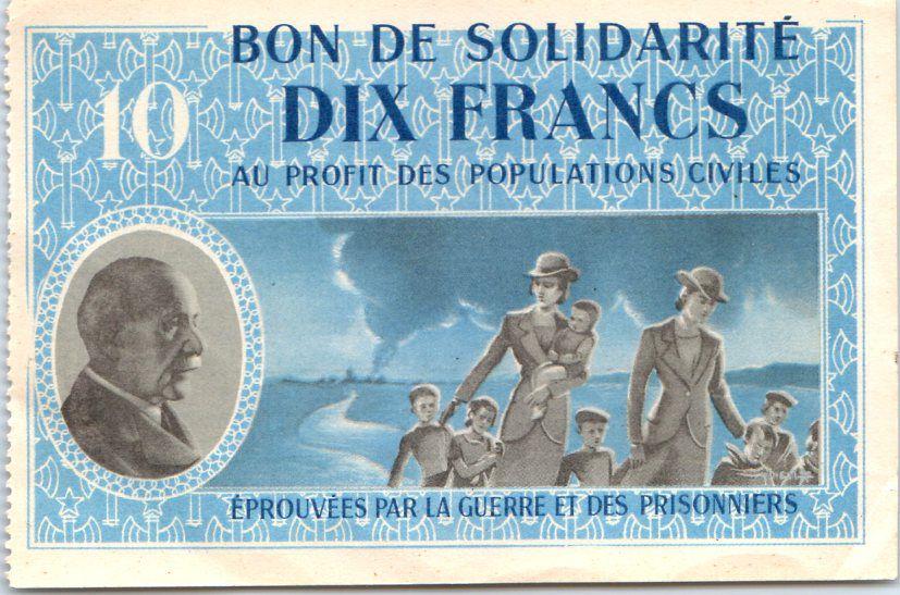 France 10 Francs , Bon de solidarité Femmes et enfants