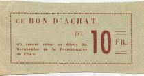France 10 Francs - Eure Reconstruction Commandos Coupon - VF+