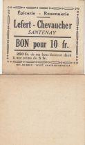 France 10 Francs - Lefert - Chevaucher - 1914-1918 - Santenay