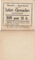 France 10 Francs - Lefert - Chevaucher - 1914-1918 - Santenay
