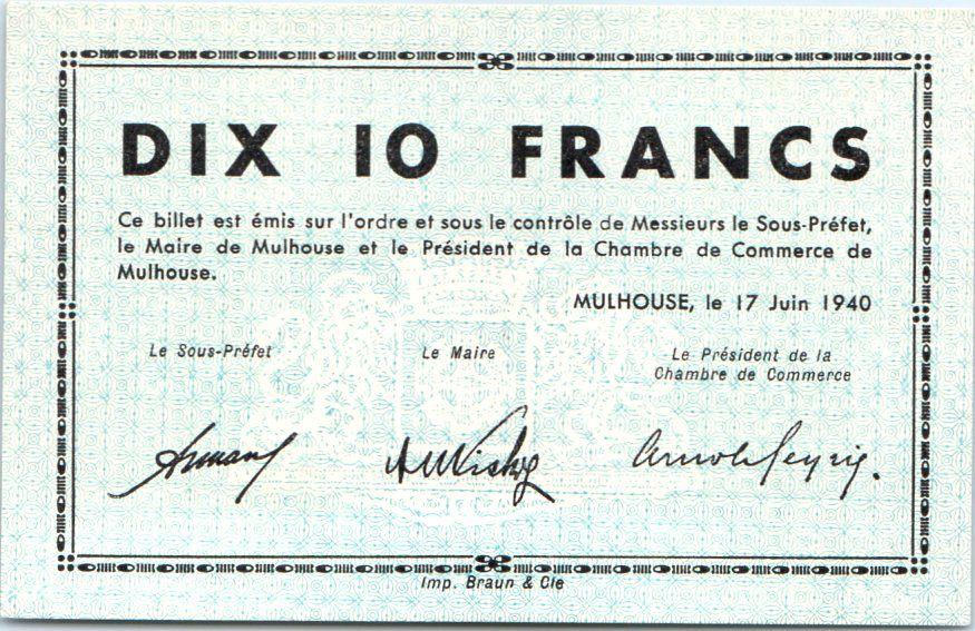 Billet france 10 francs mulhouse chambre de commerce for Chambre de commerce mulhouse