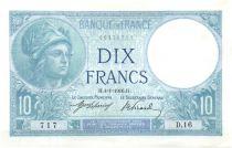France 10 Francs  1916 - Serial D.16 - Minerva