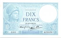 France 10 Francs  1939 - Série H.72170 - Minerve