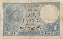 France 10 Francs  Minerva 02-01-1941 - Serial B.83142 - VG to F