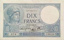 France 10 Francs  Minerva 02-01-1941 - Serial C.83114 - VF