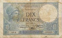 France 10 Francs  Minerva 09-01-1941 - Serial J.83329 - VG to F