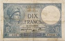 France 10 Francs  Minerva 10-10-1940 - Serial F.77242 - F+