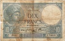 France 10 Francs  Minerva 12-10-1939 - Serial F.74002 - G