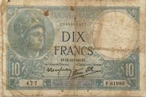 France 10 Francs  Minerva 12-12-1940 - Serial F.81893 - G+