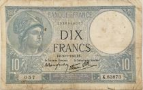 France 10 Francs  Minerva 16-01-1941 - Serial K.83873 - VG to F