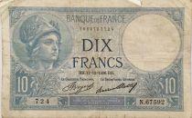 France 10 Francs  Minerva 17-12-1936 - Serial N.67592 - F