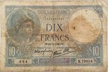 France 10 Francs  Minerva 21-11-1940 - Serial K.79854 - VG to F