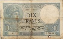 France 10 Francs  Minerva 26-09-1939 - Serial S.72961 - F