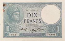 France 10 Francs  Minerva 28-11-1940 - Serial Y.80603 - VF