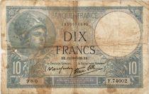 France 10 Francs  Minerve 12-10-1939 - Série F.74002 - B