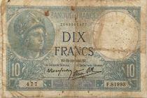 France 10 Francs  Minerve 12-12-1940 - Série F.81893 - B+