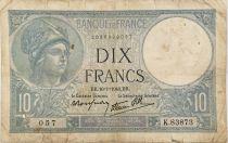 France 10 Francs  Minerve 16-01-1941 - Série K.83873 - PTB
