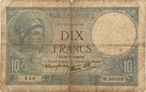 France 10 Francs  Minerve 28-11-1940 - Série W.80330 - B