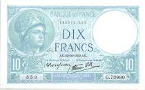 France 10 Francs 1939 - Serial A.73990  - Minerva