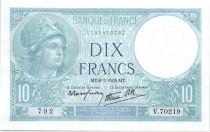 France 10 Francs 1939 - Serial V.70219  - Minerva