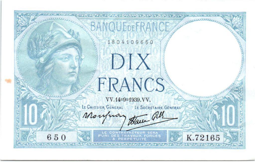 France 10 Francs 1939 - Série K.72165 - Minerve