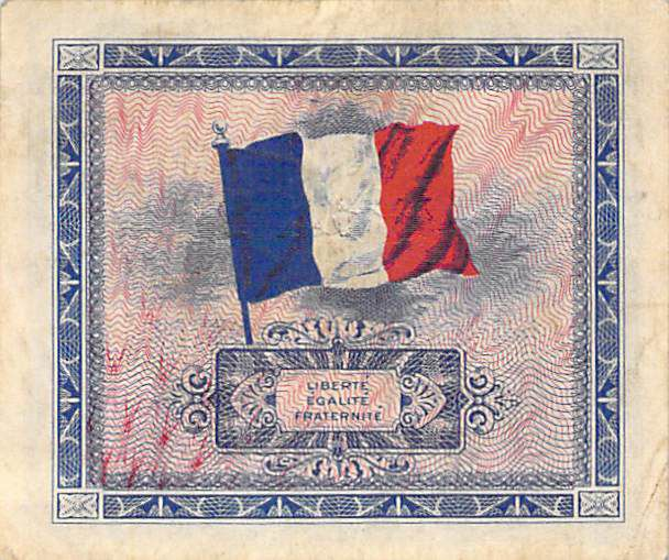 France 10 Francs Allied Military Currency (Flag) - 1944 No Serial - VF+