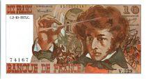 France 10 Francs Berlioz - 02-10-1975 Serial V.229