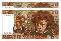France 10 Francs Berlioz - 23-11-1972 Paire de n° consécutifs Série R.7