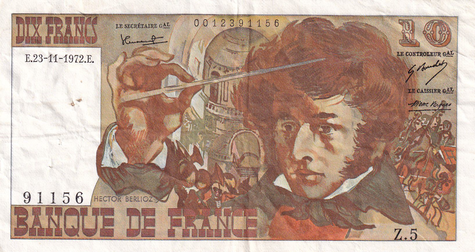 France 10 Francs Berlioz - 23-11-1972 Série Z.5 - TTB