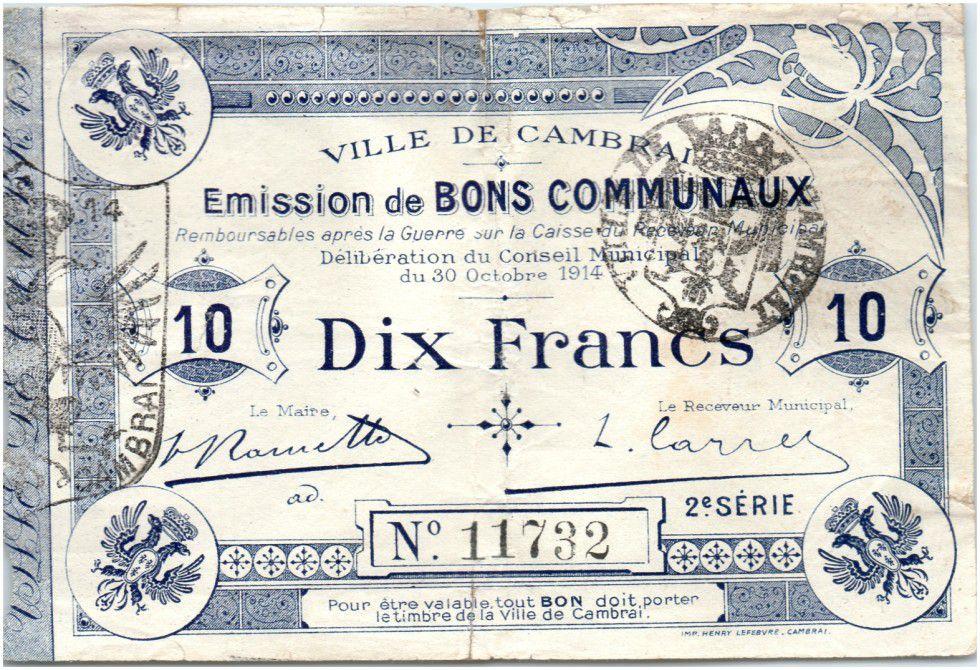 France 10 Francs Cambrai City - 1914