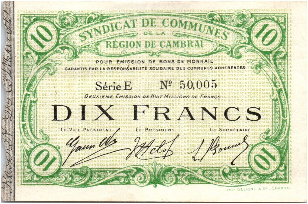 France 10 Francs Cambrai City - 1916