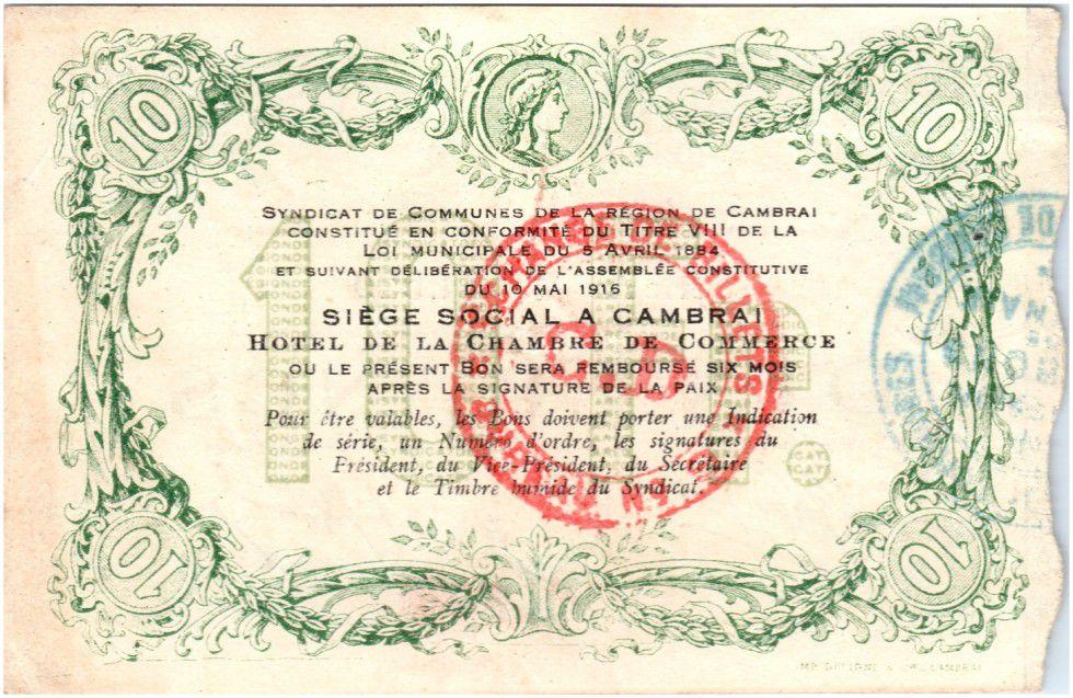 France 10 Francs Cambrai City - 1916