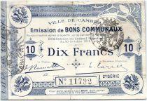 France 10 Francs Cambrai Commune - 1914