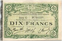 France 10 Francs Cambrai Commune - 1916