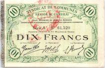 France 10 Francs Cambrai Commune - 1916