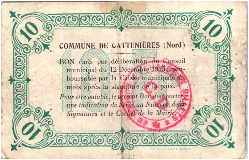 France 10 Francs Cattenieres City - 1915