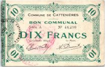 France 10 Francs Cattenieres Commune - 1915