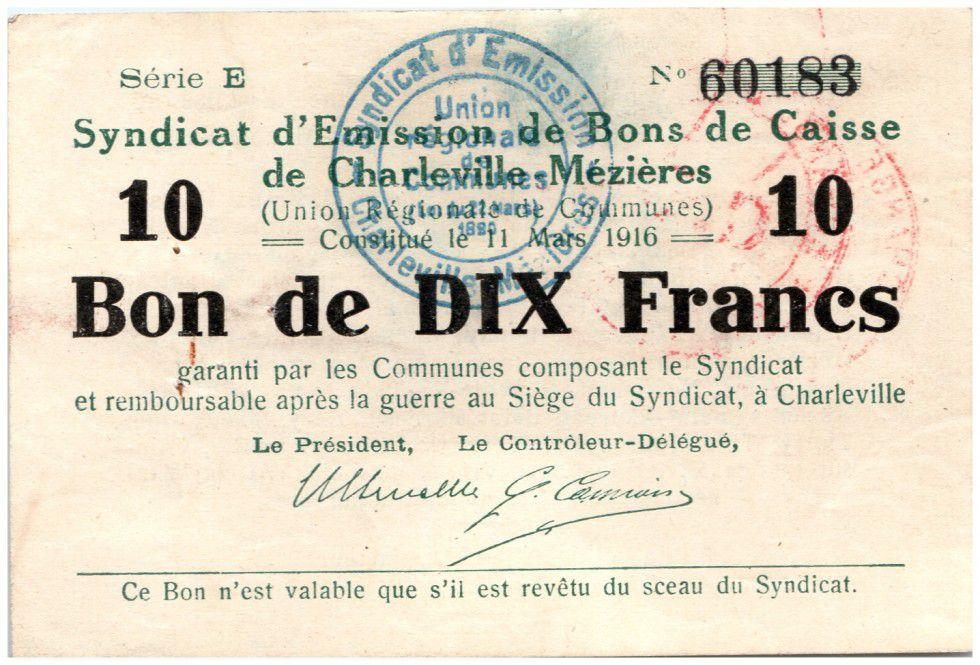 France 10 Francs Charleville-Mézières Bon de Caisse - 1916