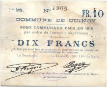 France 10 Francs Cuincy City - 1915