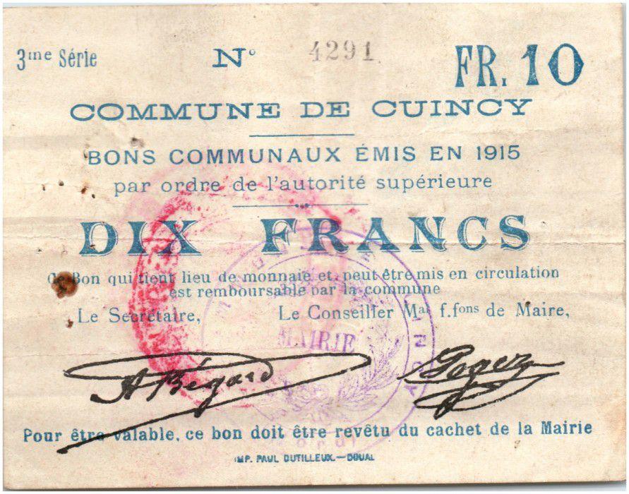 France 10 Francs Cuincy City - 1915